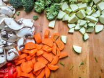 Chopped raw vegetables Stock Image