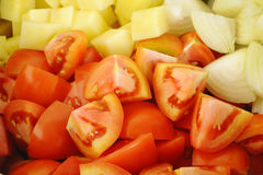 Close up of chopped vegetables Royalty Free Stock Photo