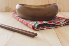Close up chopstick with empty bowl Royalty Free Stock Images