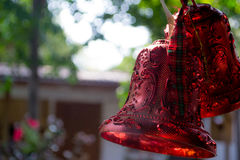 Close up of christmas bells. Close up of christmas red bells Royalty Free Stock Images