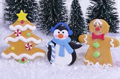 Close up on Christmas characters. Greeting card concept Stock Image