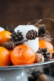Close up Christmas Composition with Tangerines Stock Images