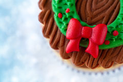 Close up of Christmas cupcake Royalty Free Stock Photos