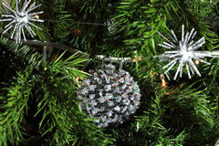 Close up of Christmas decorati. Ons on a real Christmas tree Royalty Free Stock Photo