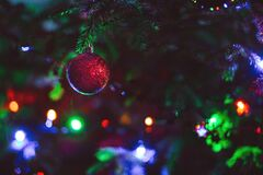 Close-up of Christmas Decoration Hanging on Tree Royalty Free Stock Photos