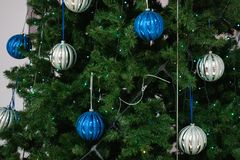 Close-up Christmas decorations. blue and silver balls and stars. Beautiful background stock image