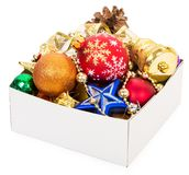 Christmas decorations in box Stock Photography