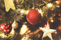 Close up on Christmas decorations on tree Royalty Free Stock Photo