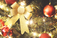 Close up on Christmas decorations on tree Stock Photos