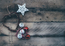 Close-up of Christmas Decorations on Wood Stock Photos