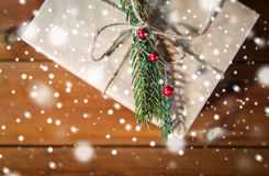 Close up of christmas gift box with fir brunch Royalty Free Stock Image