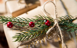 Close up of christmas gift with fir brunch Stock Photos