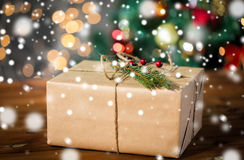 Close up of christmas gift with fir brunch Stock Photo