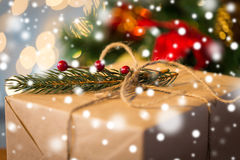 Close up of christmas gift with fir brunch Royalty Free Stock Images
