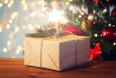 Close up of christmas gift with fir brunch Stock Photography