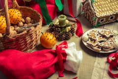 Close-up on Christmas goodies Stock Images