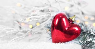 Christmas heart ornament. Close up of Christmas heart ornament royalty free stock images