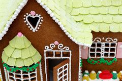 Macro of a holiday gingerbread house Royalty Free Stock Photos