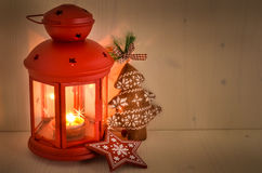 Close up of Christmas Lantern with a Burning Candle Royalty Free Stock Photos