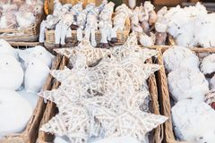Close up of Christmas market stall in Vienna, Austria. Christmas royalty free stock image