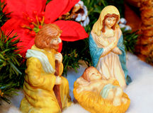 Close up of Christmas Nativity. Christmas Nativity scene with Holy family Royalty Free Stock Photo