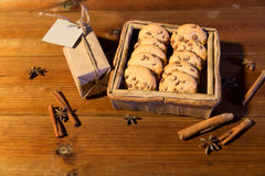 Close up of christmas oat cookies on wooden table Stock Image