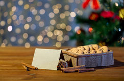 Close up of christmas oat cookies on wooden table Royalty Free Stock Image