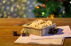 Close up of christmas oat cookies on wooden table Stock Images