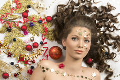 Close-up christmas portrait of brunette girl Stock Photo