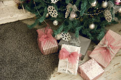 Close-up of Christmas presents under Royalty Free Stock Photography