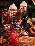 Close up Christmas still life with pair mug hot drink. Stock Photo