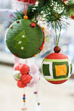 Close-up Christmas Toys and Balls. On the fir tree royalty free stock photo
