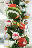 Close-up Christmas Toys and Balls. On the fir tree Royalty Free Stock Images