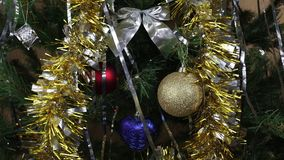 Close-up of Christmas toys. In flickering light. Atmosphere of the holiday stock footage