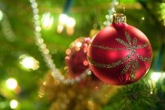 Close up on christmas tree. Christmas red ball on christmas tree Royalty Free Stock Images