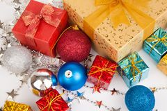 Close up of christmas tree bauble ,ornament and gift box Stock Image
