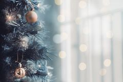 Close up of Christmas tree with a bright bokeh background stock photos