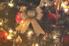 Close up on Christmas tree and Christmas decorations Royalty Free Stock Photo