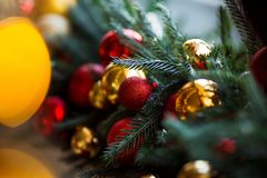 Close up Christmas tree decorated. No people. Home comfort of modern house. stock images