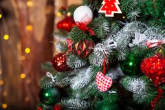 Close up Christmas tree decorated. No people. Home comfort of modern house. royalty free stock photography