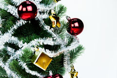 Close-up of christmas tree decorated with ornaments in white  background - with copyspace Stock Photography