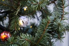 Close up of decorated Christmas tree background stock photography