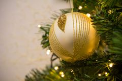 Close Up Of Christmas Tree Decoration With Golden and White Ball Royalty Free Stock Photos