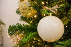 Close Up Of Christmas Tree Decoration With White Ball Royalty Free Stock Images