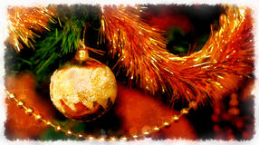 Close Up of Christmas-tree decorations. Computer aquarelle collage. Royalty Free Stock Photo