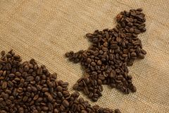 Close up of Christmas tree made with roasted coffee beans Royalty Free Stock Photography