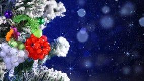 Close-up of christmas tree and magic snowfall Stock Photography