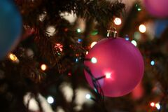 Close-up of Christmas Tree at Night Stock Photo