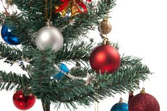 Close up of christmas tree with ornament, bauble, and decoration Royalty Free Stock Photo