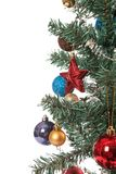 Close up of christmas tree with ornament, bauble, and decoration Stock Photo
